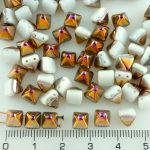 Pyramid Stud Two Hole Czech Beads - Alabaster White Metallic Sliperit Purple Gold Half - 6mm