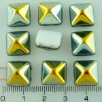 Pyramid Stud Two Hole Czech Beads - Alabaster White Metallic Marea Gold Half - 12mm