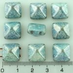 Pyramid Stud Two Hole Czech Beads - Picasso White Blue Terracotta Luster - 12mm
