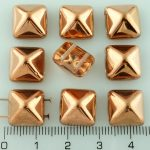 Pyramid Stud Two Hole Czech Beads - Crystal Metallic Capri Gold Copper Half - 12mm