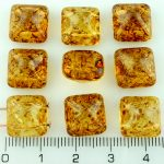Pyramid Stud Two Hole Czech Beads - Picasso Crystal Brown Yellow - 12mm