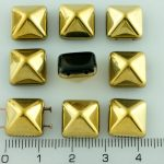 Pyramid Stud Two Hole Czech Beads - Opaque Jet Black Metallic Gold Half - 12mm
