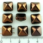 Pyramid Stud Two Hole Czech Beads - Metallic Shiny Bronze Brown Luster - 12mm