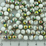 Round Czech Beads - Alabaster White Dotted Peacock Vitrail Half - 6mm
