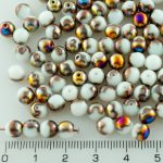 Round Czech Beads - Alabaster White Metallic Sliperit Purple Gold Half - 6mm