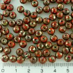 Round Czech Beads - Picasso Silver Opaque Orange - 6mm