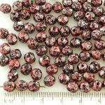 Round Faceted Fire Polished Czech Beads - Opaque Jet Black Granite Red Silver Tweedy Patina - 6mm