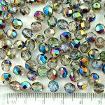 Round Faceted Fire Polished Czech Beads - Crystal Vitrail Green Pink Half - 6mm