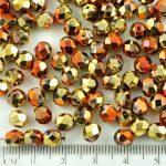 Round Faceted Fire Polished Czech Beads - Metallic California Golden Rush Bronze - 6mm