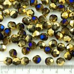 Round Faceted Fire Polished Czech Beads - California Blue Gold Half - 6mm