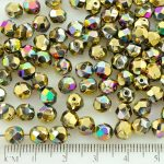 Round Faceted Fire Polished Czech Beads - California Green Purple Gold Half - 6mm