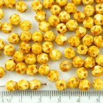 Round Faceted Fire Polished Czech Beads - Picasso Brown White - 6mm