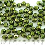 Round Faceted Fire Polished Czech Beads - Metallic Green Luster - 6mm