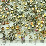 Round Faceted Fire Polished Czech Beads - Crystal Metallic Marea Gold Half - 4mm