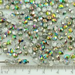 Round Faceted Fire Polished Czech Beads - Crystal Purple Green Yellow Vitrail Half - 0.4x0.4x0.1cm