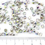 Round Faceted Fire Polished Czech Beads - Crystal Metallic Vitrail Green Pink Half - 4mm