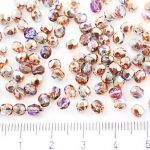 Round Faceted Fire Polished Czech Beads - Crystal Copper Rainbow - 4mm