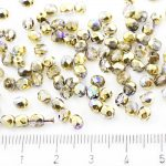 Round Faceted Fire Polished Czech Beads - Crystal Golden Rainbow - 4mm