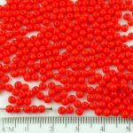 Round Czech Beads - Opaque Red - 3mm