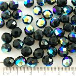 Round Faceted Fire Polished Czech Beads - Black Metallic AB Half - 8mm