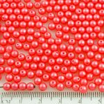 Round Czech Beads - Pearl Shine Rose Pink Red - 4mm