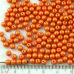 Round Czech Beads - Gold Shine Matte Pearl - 4mm