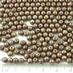 Round Czech Beads - Picasso Silver Opaque Purple - 4mm