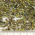 Round Faceted Fire Polished Czech Beads - Crystal Vitrail Green Yellow Pink Rainbow - 3mm