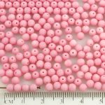 Round Czech Beads - Matte Pink Opaque Frosted - 4mm