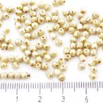 Round Faceted Fire Polished Czech Beads - Picasso Honey White Luster - 3mm