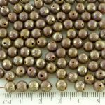 Round Czech Beads - Picasso Silver Brown Opaque Purple - 6mm