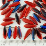 Dagger Leaf Czech Beads - Opal Mixed Dark Blue Red Striped - 16mm