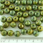Round Czech Beads - Picasso Silver Opaque Olive Green - 8mm