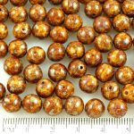 Round Czech Beads - Picasso Silver Brown Opaque Ivory - 8mm