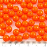 Round Czech Beads - Opaque Orange - 8mm