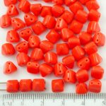 Pyramid Stud Two Hole Czech Beads - Opaque Coral Red - 6mm