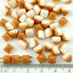 Pyramid Stud Two Hole Czech Beads - Matte Brown Yellow Orange Apricot Luster White Half - 6mm