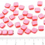 Two Hole Czech Beads - Pearl Shine Rose Pink - 6mm