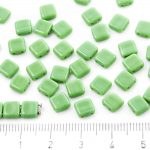 Two Hole Czech Beads - Opaque Erinite Green - 6mm