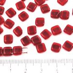 Two Hole Czech Beads - Crystal Dark Ruby Red - 6mm