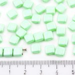 Two Hole Czech Beads - Pastel Pearl Light Chrysolite Green - 6mm