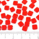 Two Hole Czech Beads - Opaque Coral Red - 6mm