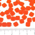 Two Hole Czech Beads - Crystal Hyacinth Orange - 6mm