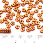 Forget-Me-Not Flower Czech Small Flat Beads - Gold Shine Red Gold Matte Pearl - 5mm