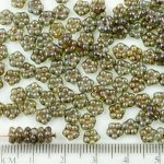 Forget-Me-Not Flower Czech Small Flat Beads - Picasso Crystal Brown Fern Green - 5mm