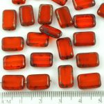 Rectangle Table Cut Flat Czech Beads - Picasso Brown Crystal Ruby Red - 12mm