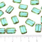 Rectangle Table Cut Flat Czech Beads - Picasso Brown Crystal Aquamarine Blue Turquoise - 12mm