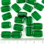 Rectangle Table Cut Flat Czech Beads - Picasso Brown Crystal Peridot Green - 12mm