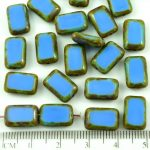 Rectangle Table Cut Flat Czech Beads - Picasso Brown Opaque Blue - 12mm