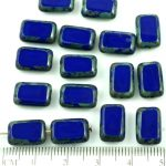 Rectangle Table Cut Flat Czech Beads - Picasso Brown Opaque Dark Royal Blue - 12mm